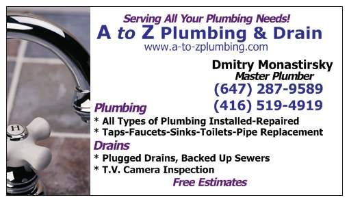Home repair plumbing in toronto ontario how can our toronto business card dmitry from a to z plumbing drain colourmoves Image collections